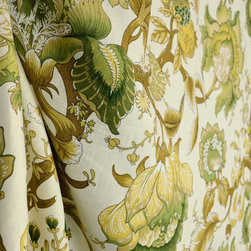 Covington - Dennehy Apple Green Real Linen Floral Drapery Farbic By The Yard - Dennehy in the color Apple Green is a stunning floral from covington. 100% Linen this fabric is great for draperies, pillows, and light upholstery.