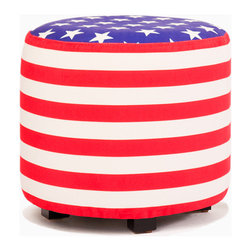 Aroopy - Stars and Stripes Ottoman - Show your patriotism (or love of stars and stripes) with this festive footstool. Velcro fasteners keep the machine-washable cover in place, so it can be easily removed for cleaning or a change of pattern. Perfect for the den, kids' room or vacation home, it doubles as a seat or side table for maximum flexibility.