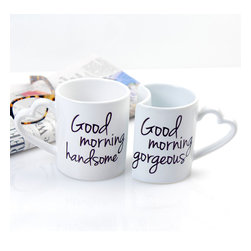None - Cathy's Concepts Good Morning Coffee Mugs (Set of 2) - Enjoy your morning time even more with these adorable Good Morning Coffee Mugs. Sold in a set of two, including his and her styling, these mugs ceramic stoneware mugs feature 'good morning gorgeous' on her cup and 'good morning beautiful' on his.