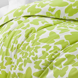Diane von Furstenberg Butterflies Duvet - This beautiful bedspread will inspire the rest of the decor of your bedroom. It's bright green and white palette will go with a plethora of colors schemes, and its butterfly pattern adds whimsy and fun. Also available in black and white.
