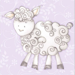 """Doodlefish - Shelby Sheep Lavender - Shelby Sheep is an 18"""" x 18"""" Gallery Wrapped Giclee Print of a mix of graphical elements and a drawing of a fluffy sheep with a curly tail.  Choose the background color and the background pattern to match your child's room,  Add your child's name or even your favorite pet.  This artwork is also available mounted in a painted frame of your choice.    The finished size of the mounted piece is approximately 22""""x22""""."""