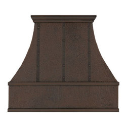 """myCustomMade - Copper Kitchen Hood """"Alabama"""", Natural Fired, 36"""", Wall Mount - Handmade design makes this copper kitchen hood a great addition to the kitchen. Customize the rustic copper hood by choosing natural fired, coffee, honey or antique finishing. """"Alabama"""" style is produced as 30, 36 or 48 inches wide. Its depth is 22"""", height 36"""" and it takes about thirty days to deliver. Once purchased specify the hood 210000011 version as wall mount or kitchen island. Enjoy free delivery."""