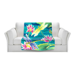 DiaNoche Designs - Fleece Throw Blanket by Harriet Peck Taylor - Dragonfly Dance - Original Artwork printed to an ultra soft fleece Blanket for a unique look and feel of your living room couch or bedroom space.  DiaNoche Designs uses images from artists all over the world to create Illuminated art, Canvas Art, Sheets, Pillows, Duvets, Blankets and many other items that you can print to.  Every purchase supports an artist!