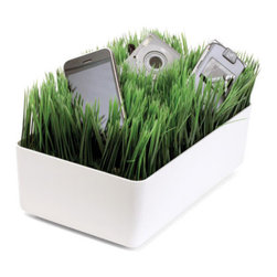 Grass Charging Station White - I love this playful charging station. It's cheeky, functional and can hide all of those ugly cords.