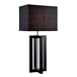 Dore Table Lamp, Wood - Try a pair of these on a console for a dark and dramatic statement. Add a mirror for added impact.