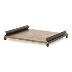 Osbourne Large Tray - Rich with metals and infused with tradition that informs its lean but beautifully curved silhouette, the Osbourne Large Tray serves as a dignified and elegant sleigh-style bed for appetizers, glassware, or sweets, offering a striking look with hammered texture and lofty feet.  Used for entertaining or for decoration, this piece has a transitional grandeur.