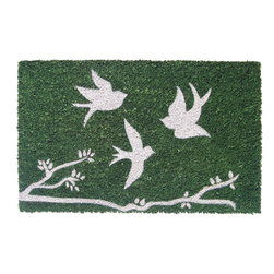 Entryways - Trio of Birds Non Slip Coconut Fiber Doormat - This beautifully designed doormat will enhance your entry way or patio. It's made from the highest quality all natural coconut fiber with a PVC non slip backing.