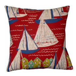 "Mid Century Home USA - Beach Pillow ""Sail""  Mid Century Barkcloth - This pillow cover was freshly made using a unique nautical medium-weight 1950's barkcloth fabric, ""Sail"". Vibrant colors are set on a soft red background.  The back of this pillow cover is finished in a coordinating blue duck cloth.canvas. The pillow insert is NOT included. The pillow is 17"" X 17"".  Use an ""18"" insert to ensure a very plump pillow."