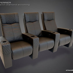 CINEAK Ferrier Luxury Home Theater Seats - The FERRIER brings a unique approach in applying diamond stitching patterns to a theater seat, while maintaining style and increasing comfort (also available without diamond stitching). The steel recline mechanism allows for the backrest and footrest to operate independently from another. Fully articulating headrest allows for desired viewing condition and proper head and neck support. Numerous customizations are available.