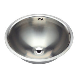 """MR Direct - MR Direct 420 Stainless Steel Bathroom Sink - The 420 stainless steel undermount or topmount vanity sink is made from 304 grade stainless steel and is available in 18 gauge thickness. The surface has a brushed satin finish to help mask small scratches that occur over time and keep your sink looking beautiful for years. The overall dimensions of the 420 are 16 1/4"""" x 6 1/4"""" and a 18"""" minimum cabinet size is required. This sink requires a pop-up drain, is fully insulated and comes with sound dampening pads. As always, our stainless steel sinks are covered under a limited lifetime warranty for as long as you own the sink."""