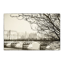 """Pont des Arts"" Artwork - A view of the Pont des Arts in Paris in winter with the river Seine and the Louvre in the background"
