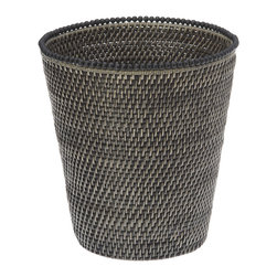 KOUBOO - Round Rattan Waste Basket with Beads, Antique Black - A refined yet natural touch for any bedroom, office or bathroom, this honey-brown waste basket is hand woven from Rattan.