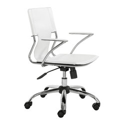 Zuo - Trafico Office Chair, White - Turn heads with the minimalist Trafico Office Chair.  The design of this chair is a fine balance of modern with transitional.  The leatherette strap makes up the support for the back.  The durable chromed-steel construction makes this chair easy on the eyes. The Trafico Office Chair is available in black, white, espresso and even red.  This chair features adjustable mechanism to allow for the perfect height next to a desk or conference table. Keep it sleep and sophisticated in your office with the Trafico Office Chair.