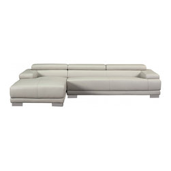 White Line Imports - Melody Gray Leather Sectional Sofa with Left Chaise - Features: