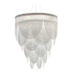 "Slamp - Ceremony Chandelier by Slamp - Add a sense of formality to expansive modern dining rooms and entryways with the SLAMP Ceremony Chandelier. This large-scale piece is granted grandeur by numerous curving strips of Fume or White Cristalflex. The resulting layers of curved panels are elegant and lacy, and provide stunning sparkle. Designed by Bruno Rainaldi.First conceived in 1994 by Italian designer Roberto Ziliani, SLAMP lighting has garnered world recognition as being at the top of a very short list of innovative and envelope-pushing lighting companies. Continually existing and resisting, SLAMP, with their resounding mantra, ""From Italy to Eternity,"" sets the stage for their newest and most avant-garde collections yet.The SLAMP Ceremony Chandelier is available with the following:Details:Cristalflex shadeMetal frameSilver finishRound ceiling canopy158"" suspension cablesNot UL/ETL ListedCE RatedMade in ItalyDesigned by Bruno RainaldiOptions:Shade: Fume, or White.Lighting:Four 23 Watt 120 Volt Type E26 Fluorescent lamps (not included).Shipping:This item usually ships within 10-12 weeks."