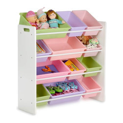 Honey Can Do - Kids Storage Organizer- 12 Bins- White - Sturdy plastic bins, sturdy construction, rounded safety corners, easy to assemble. 36 in. x 33.25 in. x 12.5 in.