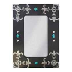 """Ironwood - Wrought Iron Mirror Fleur De Lis 36"""" - This  unique  rustic  wrought   iron  framed  mirror  features  a  Native  American  or  Southwestern  motif  with  colorful  polished  rock  accents.  Fleur  de  lis  in  burnished  silver  metal  adorn  the  corners."""