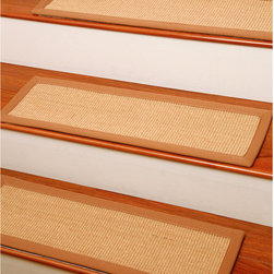 "None - Handcrafted Attachable Acadia Natural Fiber Sisal 9"" x 29"" Carpet Stair Treads ( - These handcrafted attachable stair treads in neutral hues are so to complement your decor as they protect your stairs. Ideal for pet owners,these treads keep carpet nice."