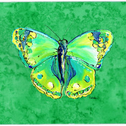 Caroline's Treasures - Butterfly Green On Green Kitchen Or Bath Mat 24X36 - Kitchen or Bath COMFORT FLOOR MAT This mat is 24 inch by 36 inch. Comfort Mat / Carpet / Rug that is Made and Printed in the USA. A foam cushion is attached to the bottom of the mat for comfort when standing. The mat has been permenantly dyed for moderate traffic. Durable and fade resistant. The back of the mat is rubber backed to keep the mat from slipping on a smooth floor. Use pressure and water from garden hose or power washer to clean the mat. Vacuuming only with the hard wood floor setting, as to not pull up the knap of the felt. Avoid soap or cleaner that produces suds when cleaning. It will be difficult to get the suds out of the mat