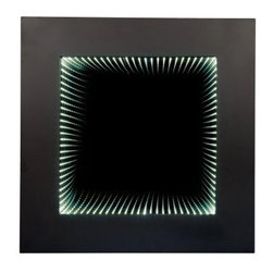 Wooden Square Wall Mirror with LED Infinity Lights - The Wooden Square Wall Mirror with LED Infinity Lights will light up any room. This decorative mirror is made of wood and finished in an intense shade of cappuccino. Don't be surprised if this mirror is mistaken for a piece of modern art.About Anthony CaliforniaAnthony California, Inc., distributor of home lighting, furniture, and decorative accessories, was founded in 1983 by James Chang. Because of Chang's business mission, Anthony California has become known in the industry as a business based on quality, timely delivery, and reliable service. Based in Chino, Calif., Anthony California produces a wide range of traditional and modern furniture pieces in the bedroom, dining, home entertainment, home office, and occasional furniture categories.