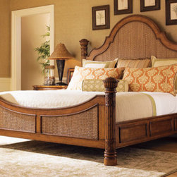Tommy Bahama Home - Island Estate Round Hill Panel Bed - Using an intricate herringbone pattern of woven Lampakanai in the headboard and footboard makes a bold statement. Yet the design creates a soothing, restful retreat. Features: -Material: Solid hardwood and maple veneers.-Plantation finish is lightly distressed with warm umber tones.-Island Estates collection.-Distressed: No.-Collection: Island Estates.Dimensions: -Overall Product Weight: 272 lbs.