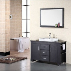"Design Element - Design Element Washington 48"" Bathroom Vanity Set - Espresso - The 48"" Washington Vanity is stylishly constructed of solid veneer panels. The designer flat vessel drop in sink and sleek cabinetry bring style and utility to any bathroom. The sinks rectangular round corner design beautifully contrast with the cabinets sleek lines and espresso finish. This vanity includes side storage, two soft closing cabinets and three drawers adorned with satin nickel hardware. Included is an espresso framed mirror with shelf. The Washington Bathroom Vanity is designed as a center piece to awe-inspire the eye without sacrificing quality, functionality or durability. Features Solid veneer panelsEspresso finishWater resistant counter topPorcelain drop in sink with overflow drain  Faucet(s) not includedChrome pop up drainEspresso framed mirror with shelfTwo side shelves and towel barsTwo soft closing cabinets and three drawersSatin nickel finish hardware Manufacturer provides 1 year warranty How to handle your counter"