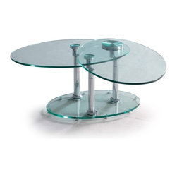 Oval swivel clear glass and chrome coffee table Orbital - Coffee table Orbital features clear modern design. It is equipped with two oval tempered glass tops that can be swivel out and completely change the look of your coffee table. The rotating table tops are supported by three chromed stainless steel columns mounted on a thick oval tempered glass base.