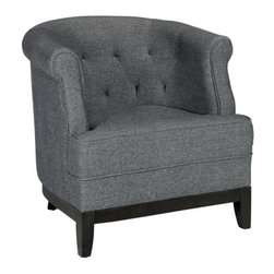 Home Decorators Collection - Emma Tufted Chair - The look of our stylish Emma Tufted Chair exudes plush, supple comfort. From the deep button tufting to the soft upholstery and the wide, rolled arms, this piece will make a perfect addition to your living room furniture arrangement, or in your bedroom to create a cozy reading nook. Polyester chenille upholstery in your choice of color. Hardwood legs feature an espresso finish.