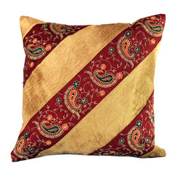 Banarsi Designs - Velvet Hand Embroidered Pillow Cover, Set of 2 (Gold) - This ornamental velvet hand embroidered pillow cover set features a distinctive design that enhances the beauty of any room decoration. Soft crushed velvet is paired with silken, hand embroidered fabric that is highlighted by a sophisticated yet whimsical paisley pattern. Alternating between velvet and embroidered fabric in bold, diagonal strips, these accent pillow covers are purely matchless in style and panache. Velvet Hand Embroidered Pillow Cover set is a perfect ornamental item that embellishes your favorite room in your home; including your living area, sitting area, and den, bedroom or guest room. The hidden zipper in the back makes them easy to remove or swap out colors with the seasons or at your whim. You will love how the Velvet Hand Embroidered Pillow Cover Set gives your home an updated look and feel instantaneously. Made in India.