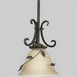 """Progress Lighting - Progress Lighting P5077-77 Eden 1 Light Pendant with Amber Linen Glass in Forged - Pendants are """"exclamation points"""" for yprogress lighting home. Use them carefully and judiciously for maximum effect. The right number in the right places will add excitement and brightness. Highlights, Spotlights, Focus lights. Use pendants over yprogress lighting breakfast bar to lift that area from the mundane to the remarkable. Hang a grouping of the three or five over yprogress lighting credenza in yprogress lighting dining room.Single Light Mini Pendant With climbing vines and blooming candleholders, the Eden collection reveals your secret garden of light. Topiary - styled forms provide perfect place for metalwork to wind and accentuate exposed candelabras or shades of softly clouded glass. A Forged Bronze finish enhances the sophisticated earthiness and casual elegance of each piece Overall Height with Stems: 66"""", with 10 feet of wire Fixture comes with 2 12"""" stems and 2 15"""" stems for adjusting height of fixture and can be mounted to sloped ceilings 1 100w max Medium base bulb (Not Included)Bulb Type: Incandescent Collection: Eden Height: 10"""" Length: 66"""" Light Direction: Down Lighting Number Of Lights: 1 Number of Tiers: 1 Pendant Type: Mini Socket 1 Base: Medium Socket 1 Max Wattage: 100 Style: Tropical Safari Suggested Room Fit: Kitchen, Kitchen Nook Wattss Per Bulb: 100 Width: 7-1 2"""""""