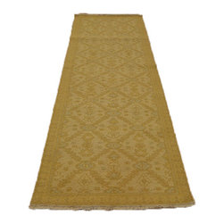 100% Wool 3'X8' Runner Ivory & Gold Soumak Hand Woven Flat Weave Area Rug SH7099 - Soumaks & Kilims are prominent Flat Woven Rugs.  Flat Woven Rugs are made by weaving wool onto a foundation of cotton warps on the loom.  The unique trait about these thin rugs is that they're reversible.  Pillows and Blankets can be made from Soumas & Kilims.