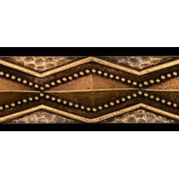 "Compliments Accessories - Zanzibar Tile Liner - Primitif hammered diamond motif 1x6"" liner in an Aged Brass finish"