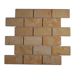 """GlassTileStore - Jerusalem Gold 2x4 Beveled Marble Tiles - JERUSALEM GOLD 2X4 BEVELED GLASS TILES  This jerusalem gold beveled can make any room look contemporary to classic. The mesh backing not only simplifies instalaltion, it also allows the tiles to be separated which adds to their design flexibility.      Chip Size: 2x4   Color: Jerusalem Gold   Material: Jerusalem Gold   Finish: Polish   Sold by the Sheet - each sheet measures 12"""" x 12"""" (1 sq. ft.)   Thickness: 8mm    - Glass Tile -"""