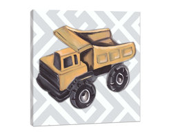 """Doodlefish - Vintage Dump Truck Toy - Most little boys love construction toys.  This set of Doodlefish Artwork includes 18"""" x 18"""" Gallery Wrapped Giclee Prints featuring vintage toy trucks on sleek modern backgrounds.  This piece has a painting of a bight yellow metal dump truck on a grey and white lattice pattern.  The wall decor is   If you choose to have this piece personalized, we will place your child's name in the location that looks best based on the length of the name.  This artwork is also available mounted in a painted frame of your choice.    The finished size of the mounted piece is approximately 22""""x22""""."""