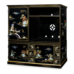"China Furniture and Arts - Chinoiserie Design Media Wall Unit - Mountainous peaks and blossoming trees populate the landscapes illustrating the charm and drama of Chinoiserie. Interpretive motifs exquisitely hand painted in gold on hardwood then finished in multiple coats of lacquer. This beautiful cabinet is perfect to house your TV and media components. Three bi-fold doors hide six shelves and two large felt-lined drawers. Six additional smaller felt-lined drawers are perfect for storing CDs. Hand-forged brass hardware with great detail. Interior dimensions: open shelf - 40.5""W x 24.75""D x 9.5""H; TV compartment - 40.5""W x 24.75""D x 28""H; upper left closed compartment: 28.25""W x 23.75""D x 38.5""H (12""H top shelf, approx. 6""H between lower shelves); lower closed compartments (each) - 28.25""W x 23.75""D x 21.75""H, approx. 6.5""H between shelves, large drawers (interior) - 21.75""W x 15.25""D x 5.5""H; CD drawers (interior) - 5.25""W x 15""D x 5.5""H; cable holes - 2"" diameter. 2 piece set."