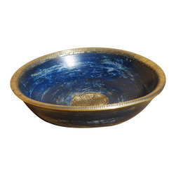 Sierra Living Concepts - Palace Gates Hand Carved Blue & Gold Wooden Fruit Bowl - Hand-carved dishes have long been used as art objects in many cultures.