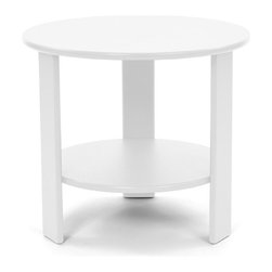 Loll Designs - Lollygagger Side Table Round, Cloud White - The Lollygagger Side Table has that futuristic retro feeling. When you're settling back in the Lollygagger Lounge or Sofa, this table is a splendid companion to hold your favorite beverage or a book when you need to close your eyes for a minute. The lower shelf is a nice spot to keep things free from morning dew or a light rain. No Lollygagger lounge would be complete without this functional little member of the family.