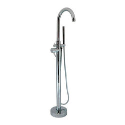 Contemporary Freestanding Tub Faucet and Hand Shower - This modern freestanding tub faucet features streamlined design and includes an all metal tubular hand sprayer. This striking tub filler is perfect for any contemporary bathroom.