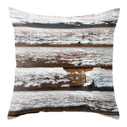 "BACK to BASICS - Snow on Wood Pillow Cover, 20x20 - Throw Pillow Cover made from 100% spun polyester poplin fabric, a stylish statement that will liven up any room. Individually cut and sewn by hand, the pillow cover measures 16"" x 16"", 18"" x 18"" or 20"" x 20"" depending on the size you choose, features a double-sided print and is finished with a concealed zipper for ease of care."