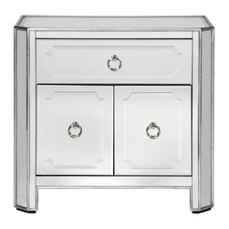 Z Gallerie - Simplicity Mirrored Side Chest - Our exclusive Simplicity Collection demonstrates a striking use of style and restraint. A redesign of the original Simplicity collection, these new models include a recessed foot, deeper drawers, additional silver leaf trim, and will blend beautifully with the original designs. The clean lines of the case goods are outlined in a hand applied silver leaf while drawer and door fronts are layered with beautiful beveled mirrored detailing accented with polished nickel hardware.