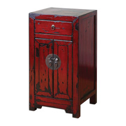 Uttermost - Uttermost Harkin Red Accent Chest 24357 - Brilliant, vermillion red cabinet with traditional Chinese hardware and antique style construction in a heavily distressed, high-gloss finish.