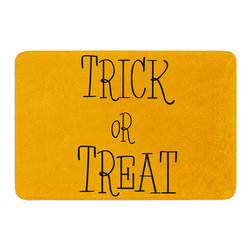 "KESS InHouse - KESS Original ""Trick or Treat - Black"" Memory Foam Bath Mat (24"" x 36"") - These super absorbent bath mats will add comfort and style to your bathroom. These memory foam mats will feel like you are in a spa every time you step out of the shower. Available in two sizes, 17"" x 24"" and 24"" x 36"", with a .5"" thickness and non skid backing, these will fit every style of bathroom. Add comfort like never before in front of your vanity, sink, bathtub, shower or even laundry room. Machine wash cold, gentle cycle, tumble dry low or lay flat to dry. Printed on single side."