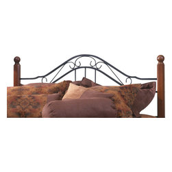 Hillsdale Furniture - Hillsdale Madison Poster Headboard - King - Popular combination of wood and iron elements make this a great design. Square solid wood posts are combined with black metal bed grills that feature round twisted wire spindles.