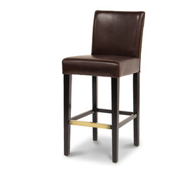 Palecek - Hudson Leather Woven 30-inch Bar Stool, Dark Brown - Plantation hardwood frame and legs. Back features upholstered leather front and woven back. Upholstered leather seat. Available only as shown.