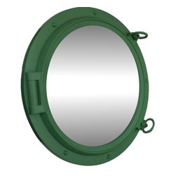"Handcrafted Model Ships - Seafoam Green Porthole Mirror 24"" - Beach Bedroom Decor - This Seafoam Porthole Mirror 24"" adds sophistication, style, and charm for those looking to enhance rooms with a nautical theme. This boat porthole has a sturdy, heavy and authentic appearance, yet it is made of wood and fiberglass to lower the weight for use as nautical wall decor. This porthole mirror makes a fabulous style statement in any room with its classic round frame, five solid rivets and two dog ears surround the perimeter of the porthole frame."