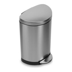 Simplehuman - simplehuman Fingerprint-Proof Mini Semi-Round Step Can - The flat side of this space-efficient semi-round step can fits right up against a wall, making it perfect for a bathroom or office.