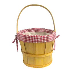 Quickway Imports - Woodchip Bushel Basket with Red Gingham Lining - Take this basket for your next apple picking day, or place it in your kitchen with some green and red apple to give your a home a warm and country feel.