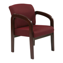 Office Star - Work Smart WD Collection WD383-318 Mahogany Finish Wood Visitor Chair - Mahogany finish wood visitor chair. Thick padded seat and back with built-in lumbar support. Mahogany wood base and arms. Ruby colored fabric