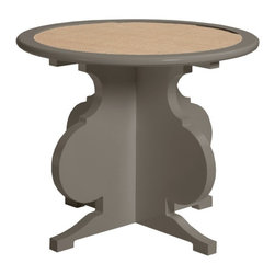 Blue Hill Side Table - Hinting Blue with Linen - The first round side table from oomph. High gloss lacquer inlayed with the surface of your choice. Combined with a beautifully shaped base, our latest addition will shine in any room.