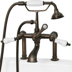 supplying life with style products - Model 107165 English Telephone Tall Deck Mount English Telephone Faucet / Hand Shower & Lever Handles - Oil Rubbed Bronze